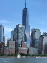 Freedom Tower and a 92 ft Viking sport fisher