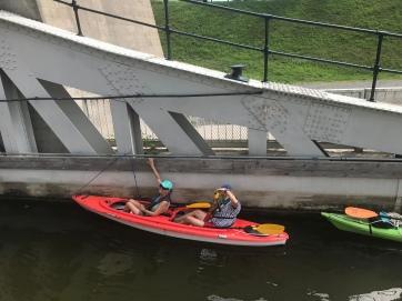 Kayaking through