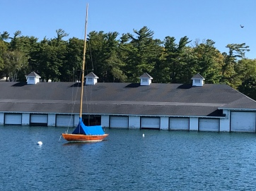 wooden sailboat and garages