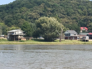 Houses on the river on stilts